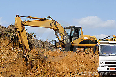 Earth mover and truck