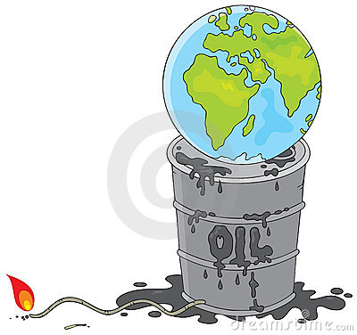 Earth on an oil barrel with a fuse