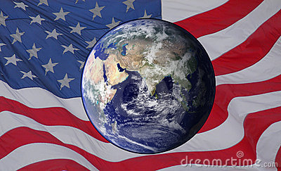 Earth over the USA Flag
