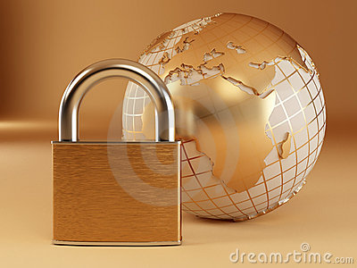 Earth with padlock