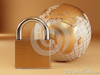 Earth with padlock