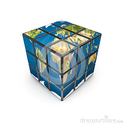Earth puzzle cube