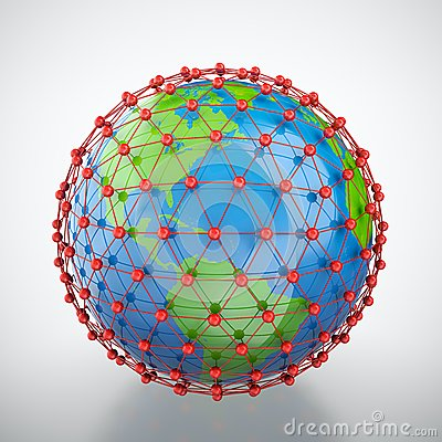 Earth in red cage
