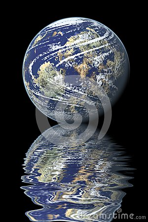 Earth reflected on water