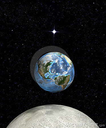Earth rise moon star in space