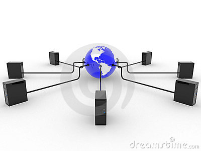 Earth with servers