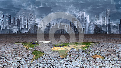 Earth sits in dried cracked mud metropolis