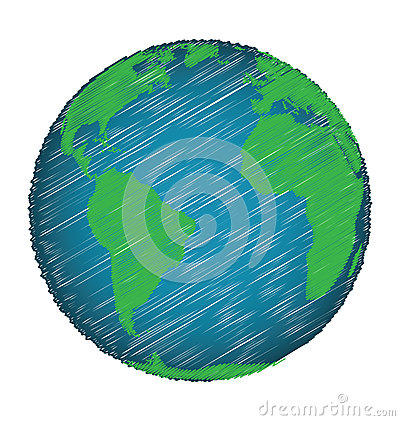 Earth Sketch Hand Draw Stock Vector - Image: 62668424