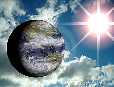 Earth with sky and sun flare