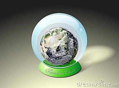 Earth in snow globe