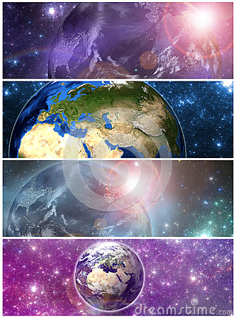 Earth in the space banners