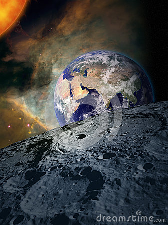 Earth in space - from the moon