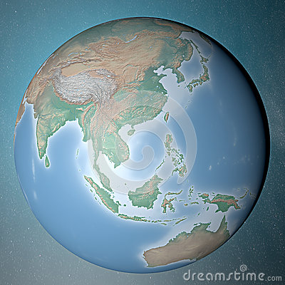 Earth standing on clean space. Asia