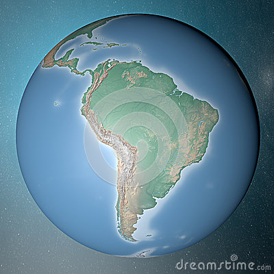 Earth standing on clean space South America