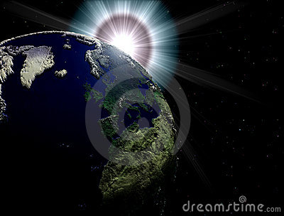 Earth with sun flare