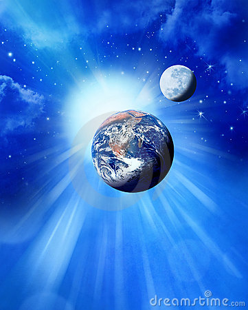 Earth Sun And Moon in Space