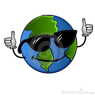clip art illustration of a cool looking planet Earth wearing ...
