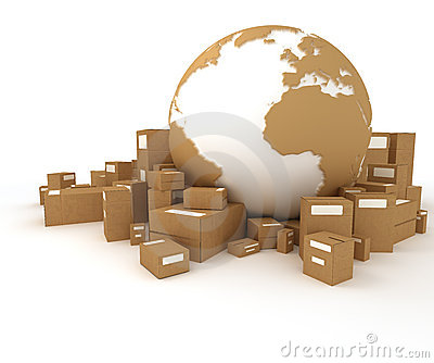 The Earth surrounded by packages