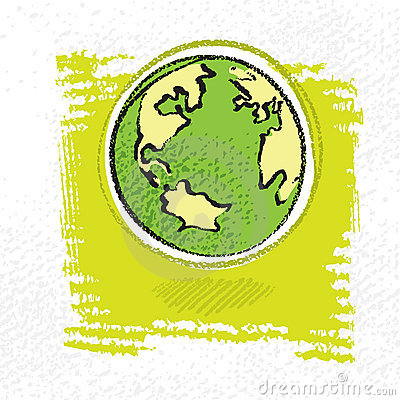 Earth symbol, simple painterly style
