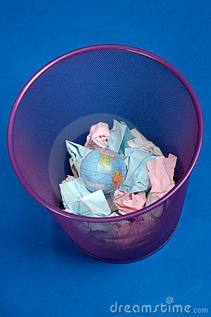 Earth in a trash can, with papers; colorful