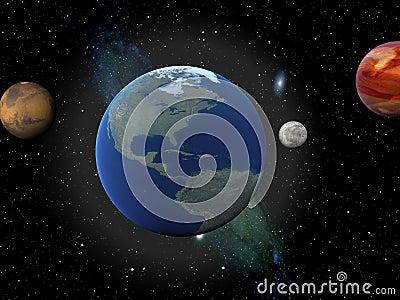 Earth, venus, moon, and mars