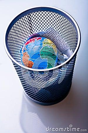 Earth in waste-bin