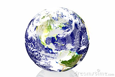 Earth in white background