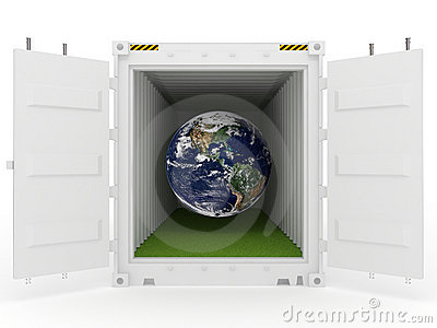 Earth in white cargo container with grass