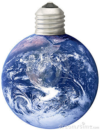 Free Earth With Lightbulb Screw Base Royalty Free Stock Photography - 3212467