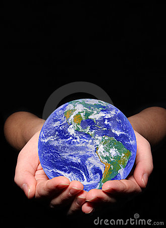 Earth in woman s hands