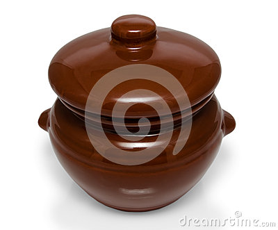 Earthenware (ceramic pot) on white background
