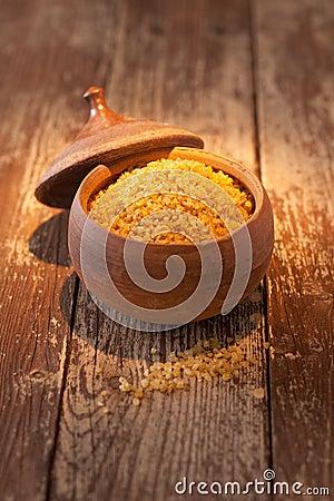 Earthenware pot of bulgur wheat