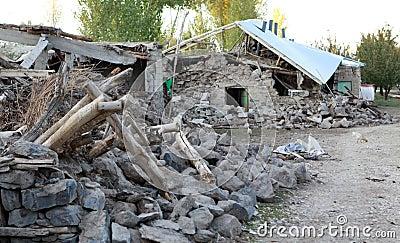 Earthquake in the Adır Village, Van. Editorial Stock Photo