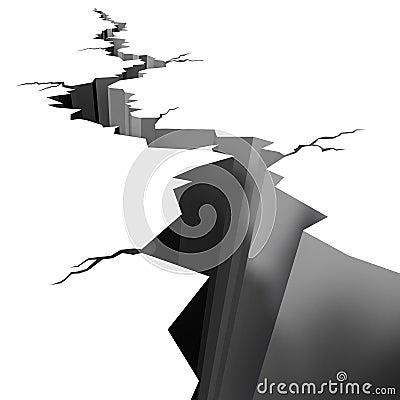 Earthquake cracked ground floor
