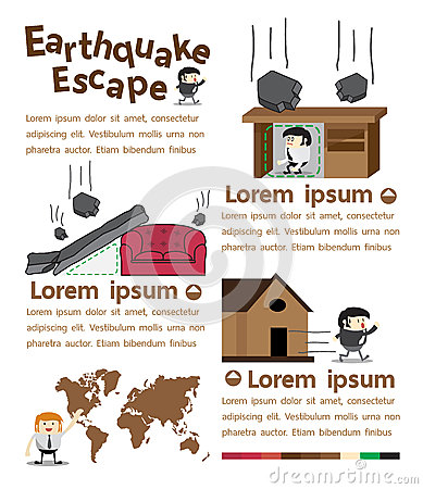 Free Earthquake Escape Infographics Royalty Free Stock Photos - 57065918