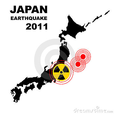 Earthquake and tsunami on Japan island, illustrati
