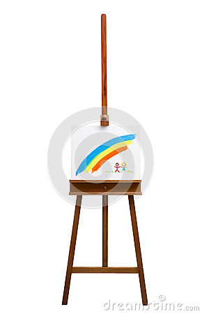 Easel isolated on a white background