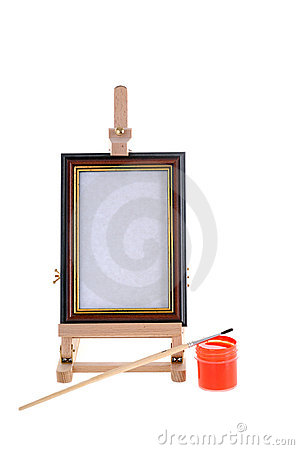 Easel, paint and small brush