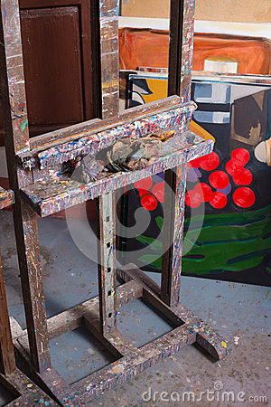 Easel in painters atelier