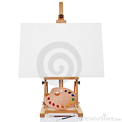Free Easel With Blank Canvas Palette Paint And Brushes Stock Images - 19892894