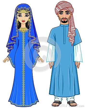 Free East Fairy Tale. Animation Portrait Of The Arab Family In Ancient Clothes. Royalty Free Stock Photography - 118114757