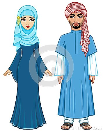 Free East Fairy Tale. Animation Portrait Of The Arab Family In Ancient Clothes. Royalty Free Stock Photos - 118114758