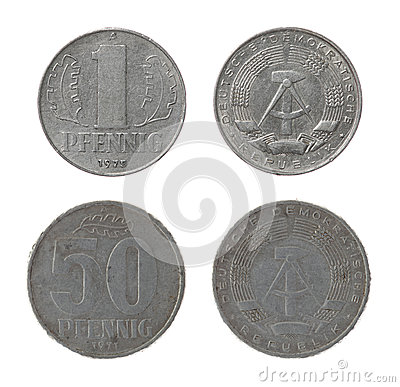 East German Coins Isolated on White