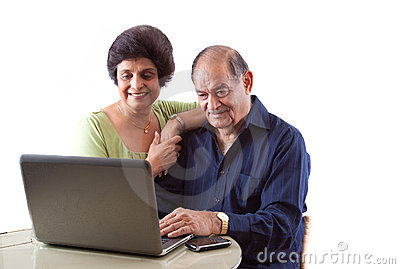 East Indian Elderly Couple on Computer