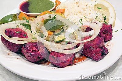 East Indian Lamb Kebab with Rice Closeup