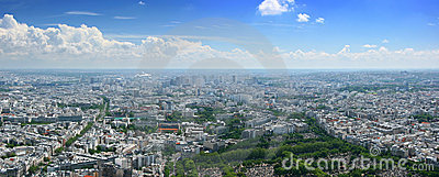 East Paris aerial cloudscape panorama