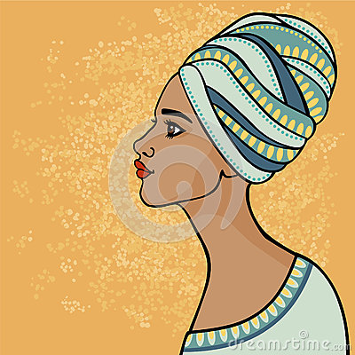 East suntanned girl in a traditional turban. Profile view.