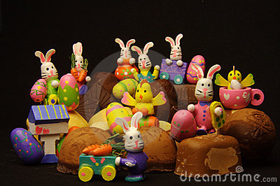 Rabbits and chicks on chocolate