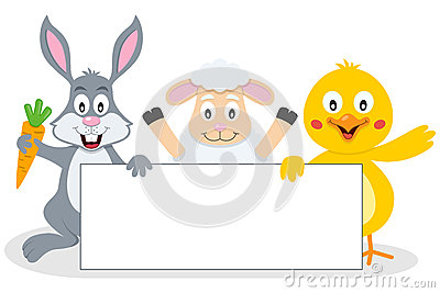 Easter Animals with Blank Banner