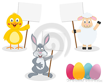 Easter Animals Holding Blank Sign